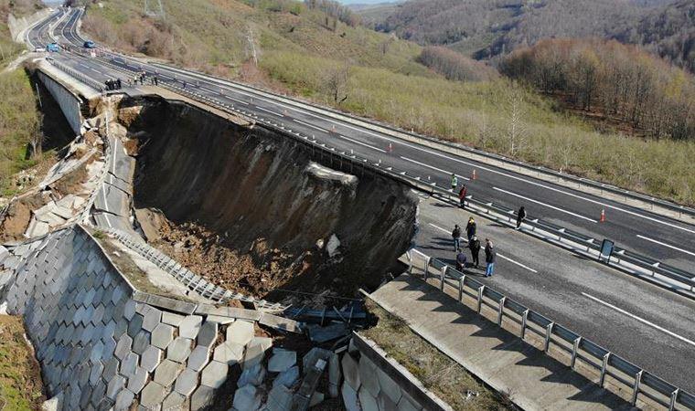 Düzce - Zonguldak karayolunda heyelan