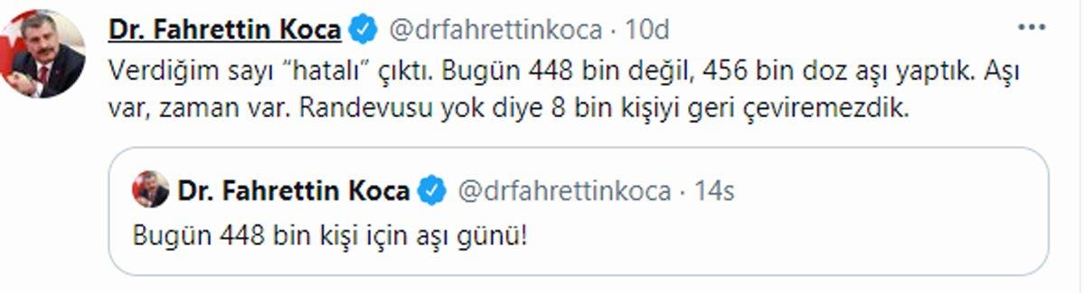 Fahrettin Koca: Verdiğim sayı hatalı çıktı... 14