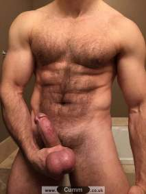 barechested with bull balls exposed