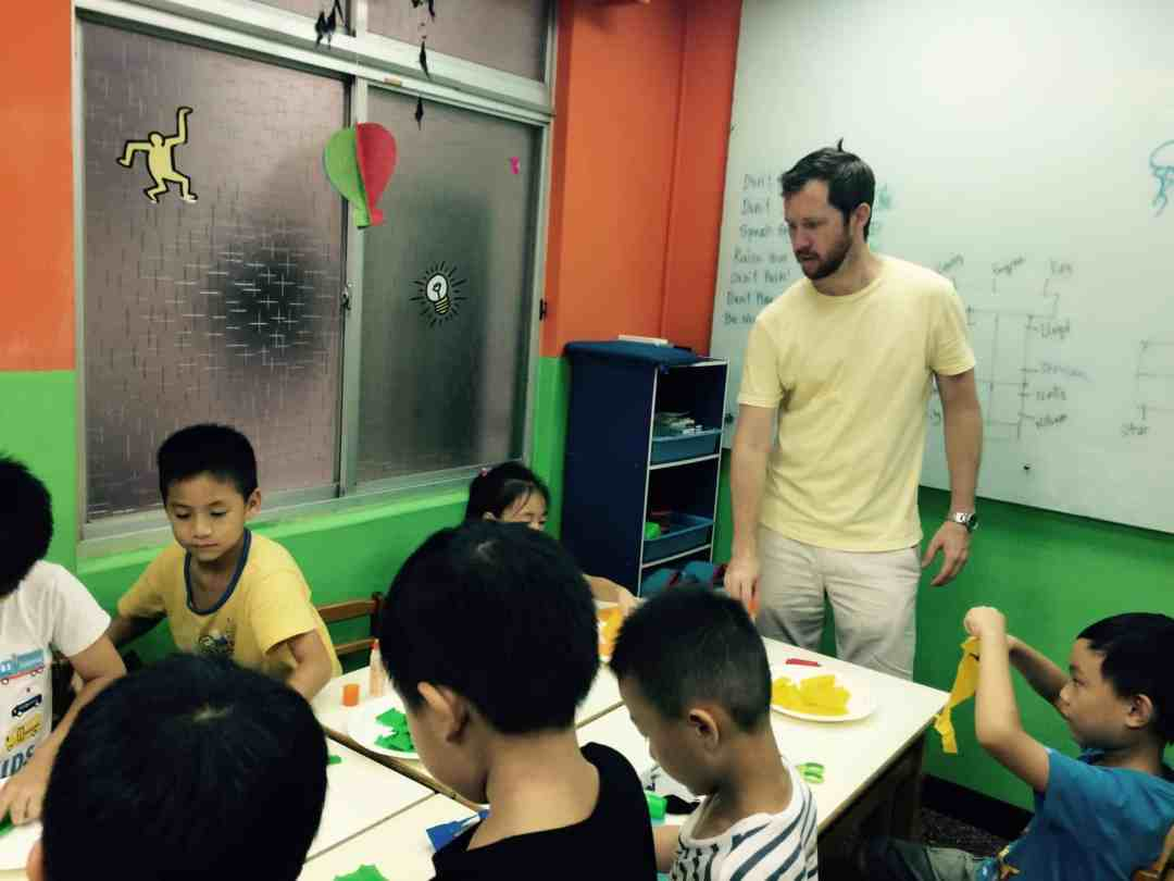 Teaching the kids at a school in Taiwan.