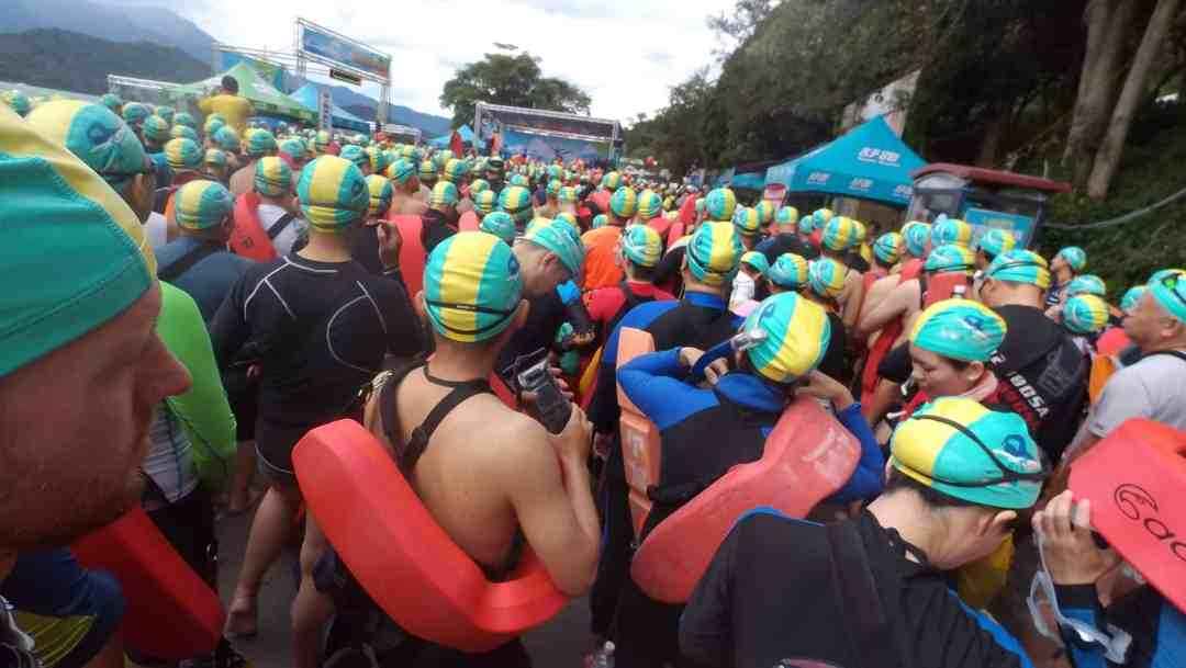 The wait at the starting spot for the swim