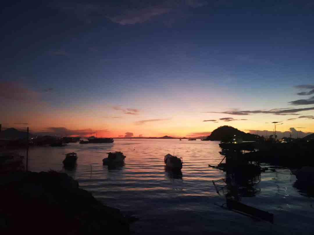 Sunset in Labuan Bajo on our free trip to Indonesia