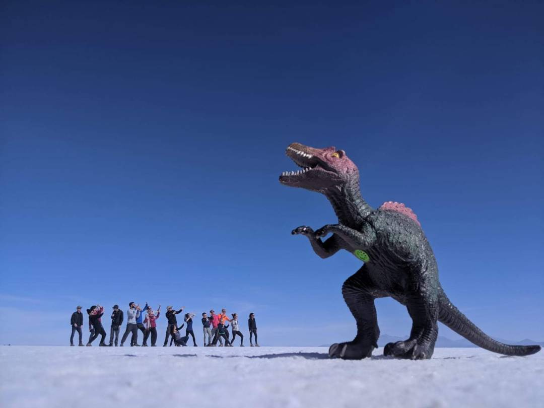 Dinosaur chasing group at Uyuni Salt Flats