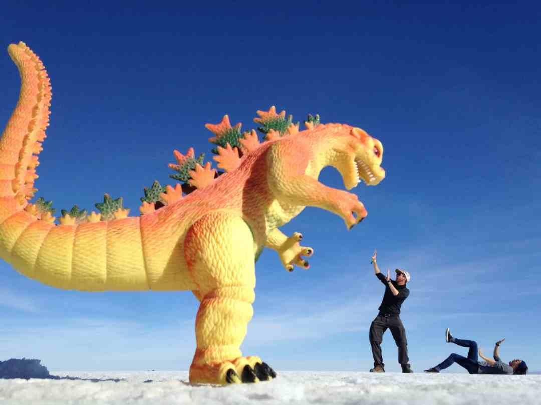 Fighting off a dinosaur Uyuni Salt Flats