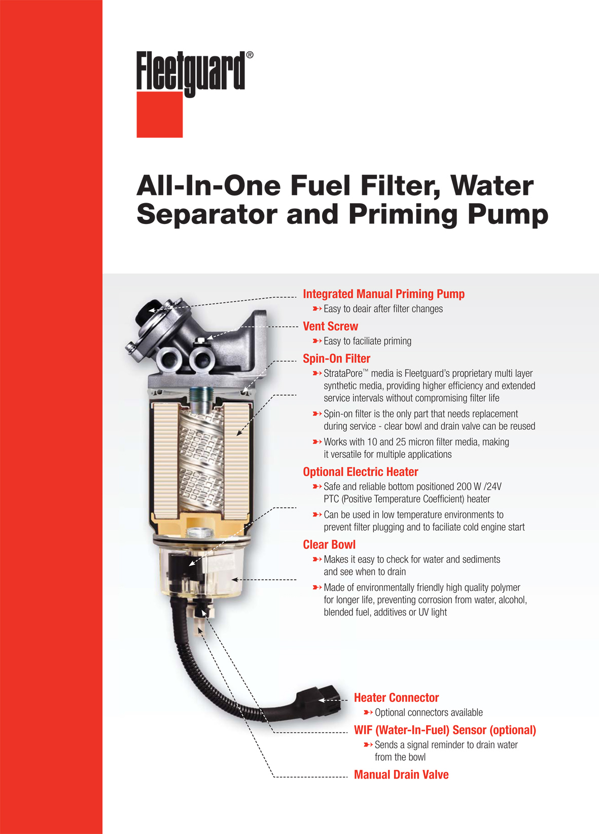 hight resolution of all in one fuel filter water separator and priming pump