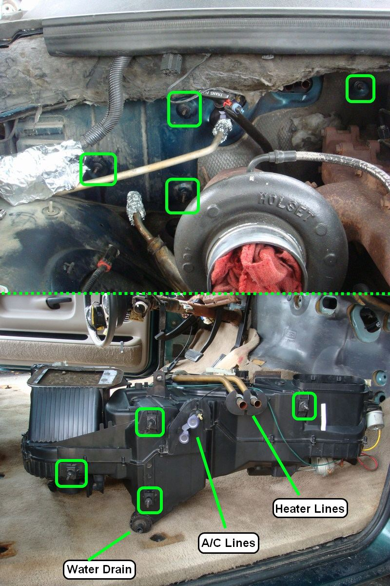 hight resolution of removing dashboard replacing evaporator 1995 2500 hvacboxbolts jpg