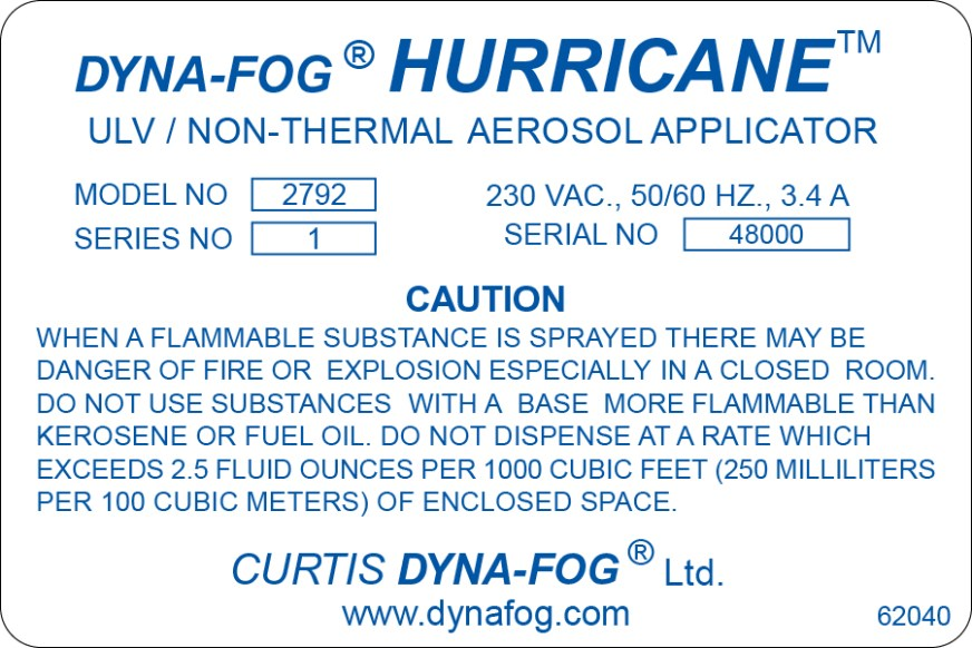 Cummins Label - Dyna-Fog Hurricane label