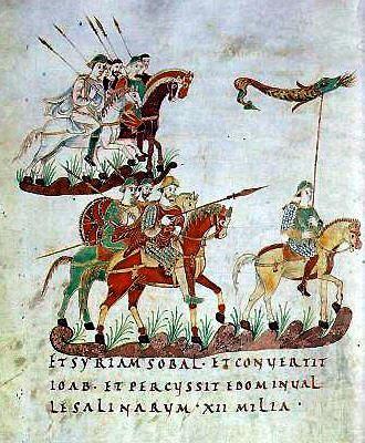 Călăreți carolingieni di secolul IX, ce purtau drept stindard... lupul cu trup de șarpe (stindardul geto-dac)