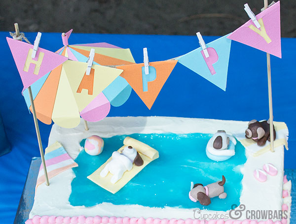 Puppy Pool Party Cake | Cupcakes&Crowbars