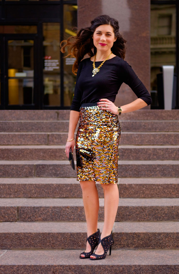 H&M Sequin Skirt for New Years Eve | www.cupcakesandthecosmos.com