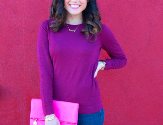 J. Crew Maroon Sweater and Hot Pink Clutch | www.cupcakesandthecosmos.com