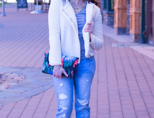 Furry Sherpa Coat with Boyfriend Jeans | www.cupcakesandthecosmos.com