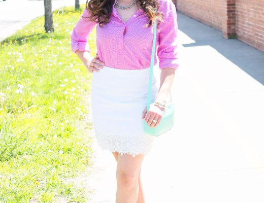 Purple Blouse and White Floral Trimmed Skirt | www.cupcakesandthecosmos.com