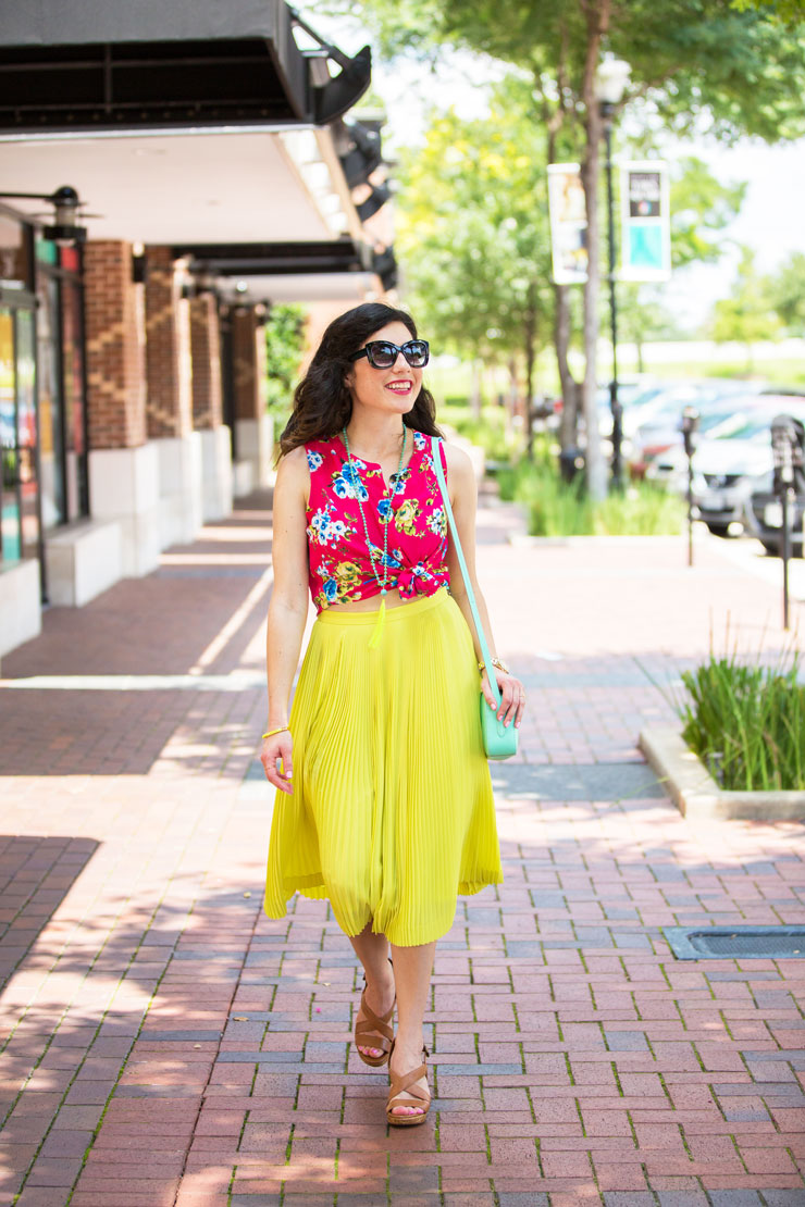 Yellow Pleated Skirt and Pink Floral Top for Summer   www.cupcakesandthecosmos.com