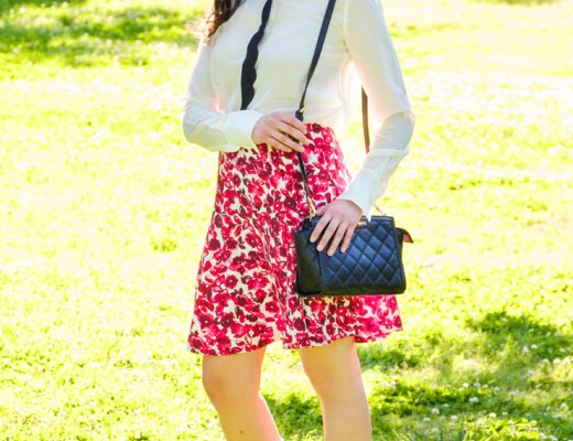 Kate Spade Inspired Floral Skirt and Contrast Scalloped Blouse | www.cupcakesandthecosmos.com