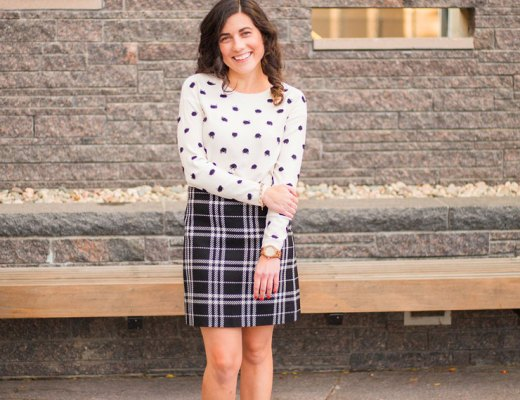 J. Crew Factory Plaid Skirt with Banana Republic Dot Sweater | www.cupcakesandthecosmos.com