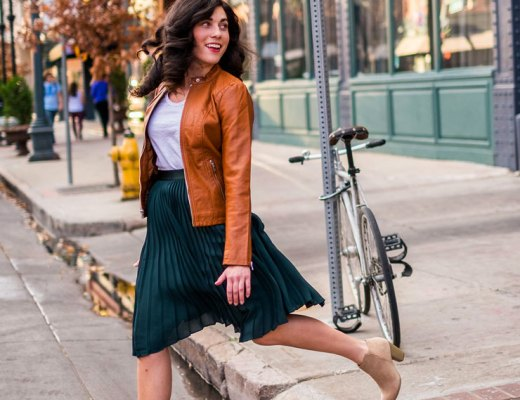 Forest Green Pleated Skirt with a Tan Faux Leather Jacket for Date Night | www.cupcakesandthecosmos.com