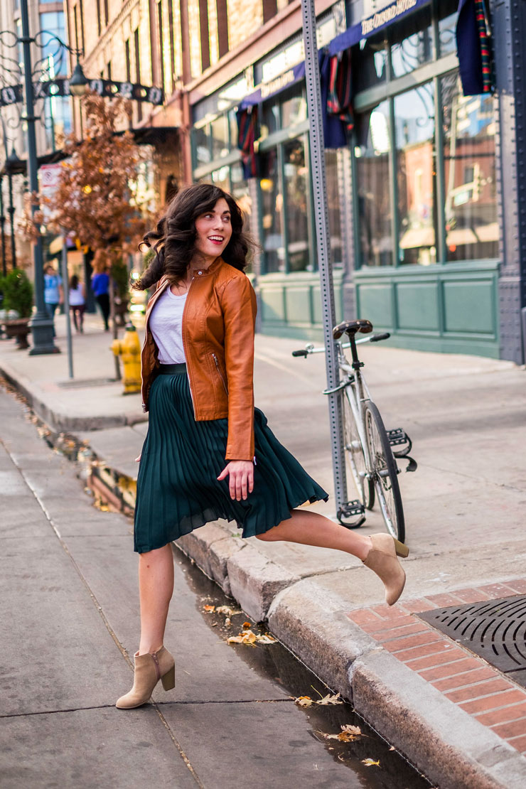 Forest Green Pleated Skirt with a Tan Faux Leather Jacket for Date Night   www.cupcakesandthecosmos.com