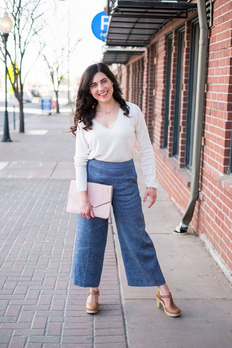 Lightweight Sweater with High Waisted Chambray Pants | www.cupcakesandthecosmos.com