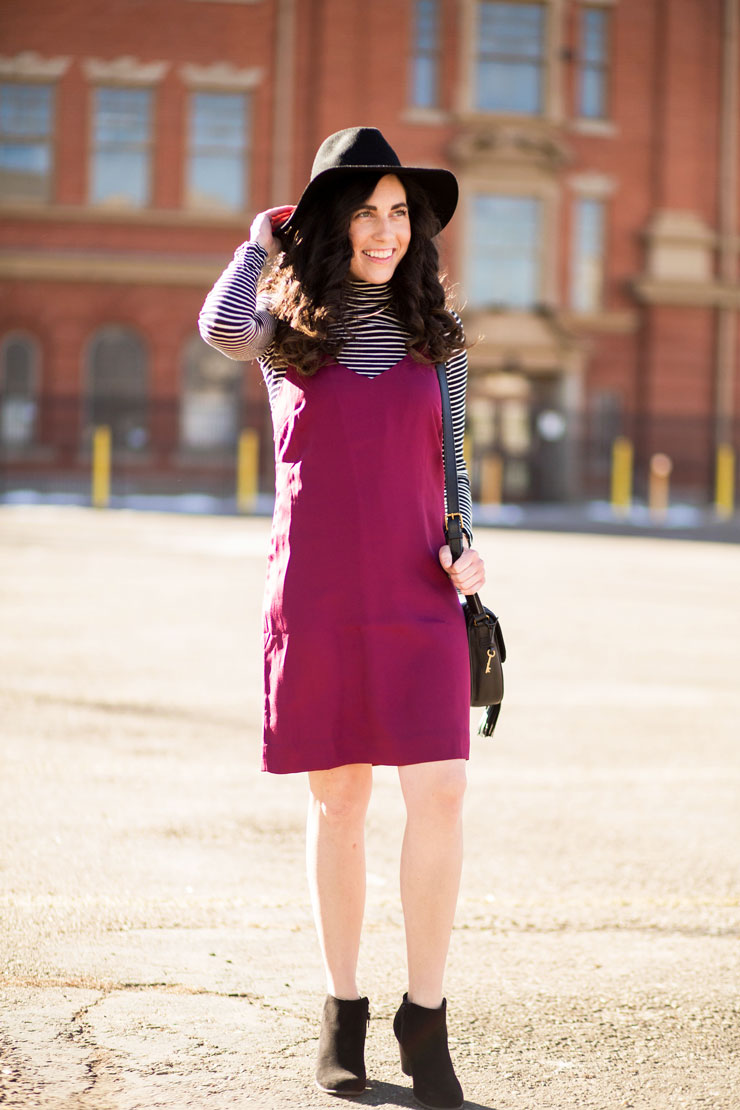 Layered Maroon Dress Over a Striped Turtleneck | www.cupcakesandthecosmos.com