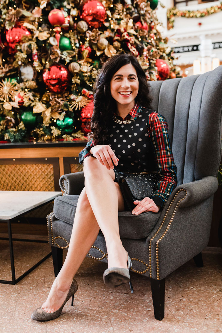 JCrew Stewart Plaid ButtonUp Layered Under Metallic Dot Jacquard Dress for a Fancy Holiday Party | www.cupcakesandthecosmos.com
