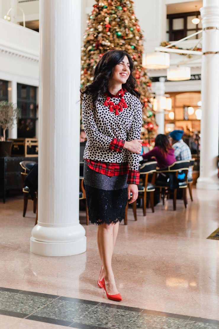 J. Crew Tippi Sweater in Cat Print and Tweed Party Skirt for a Holiday Work Look | www.cupcakesandthecosmos.com