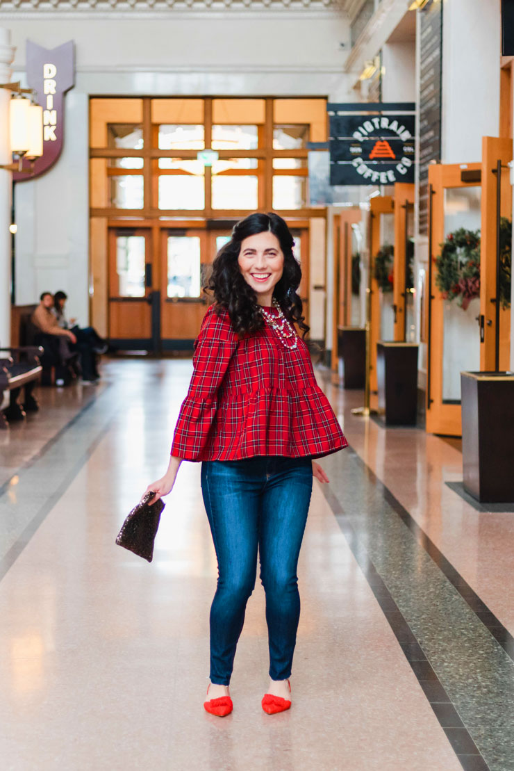 Madewell Red Plaid Tiered Button-Back Top | www.cupcakesandthecosmos.com