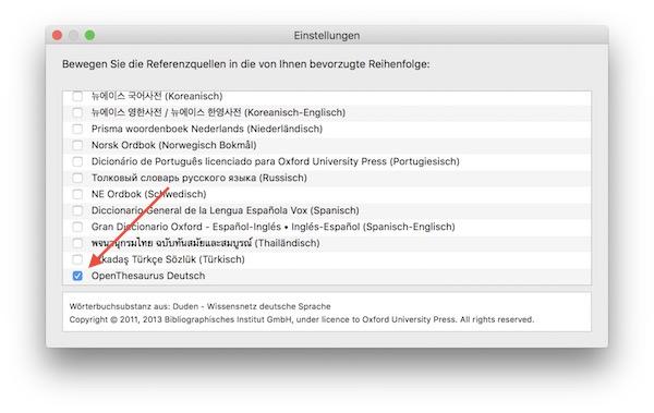 Lexikon OS X, Einstellungen - OpenThesaurus