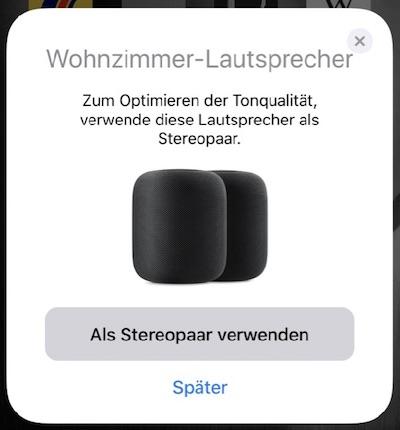 Einrichtung Stereo HomePod