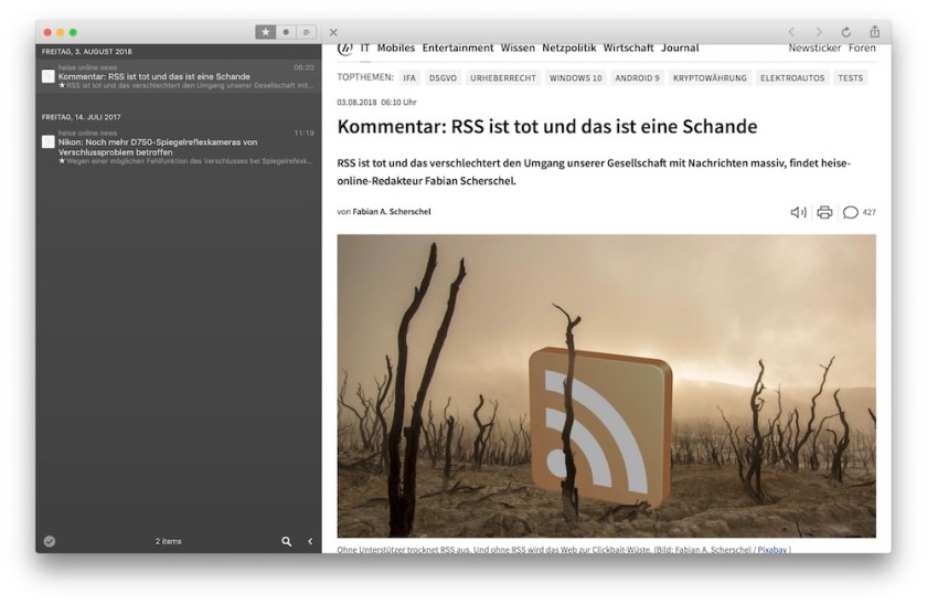 Browseransicht in Reeder