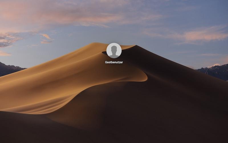 Login-Fenster macOS Mojave