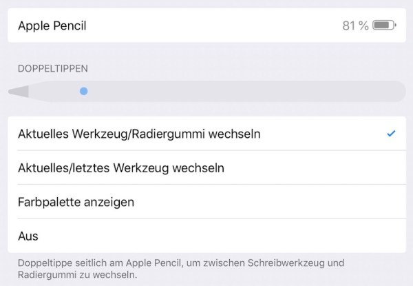 Einstelllungen für den Apple Pencil 2