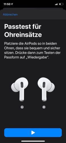 AirPods Pro: Passtest für Ohreinsätze