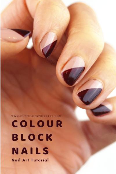 Colour Block Nails Nail Art Tutorial - Cupful of Sprinkles