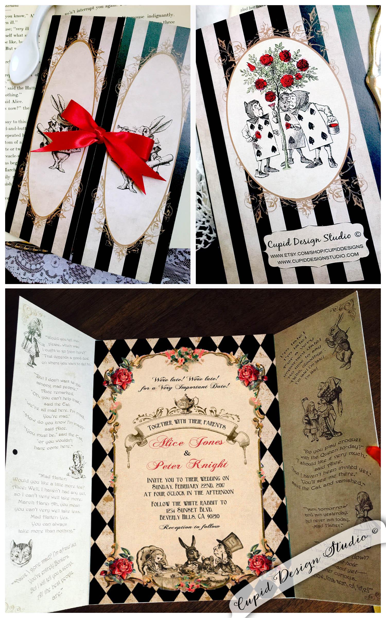 Alice In Wonderland Gatefold Invitations Mad Hatter Tea Party