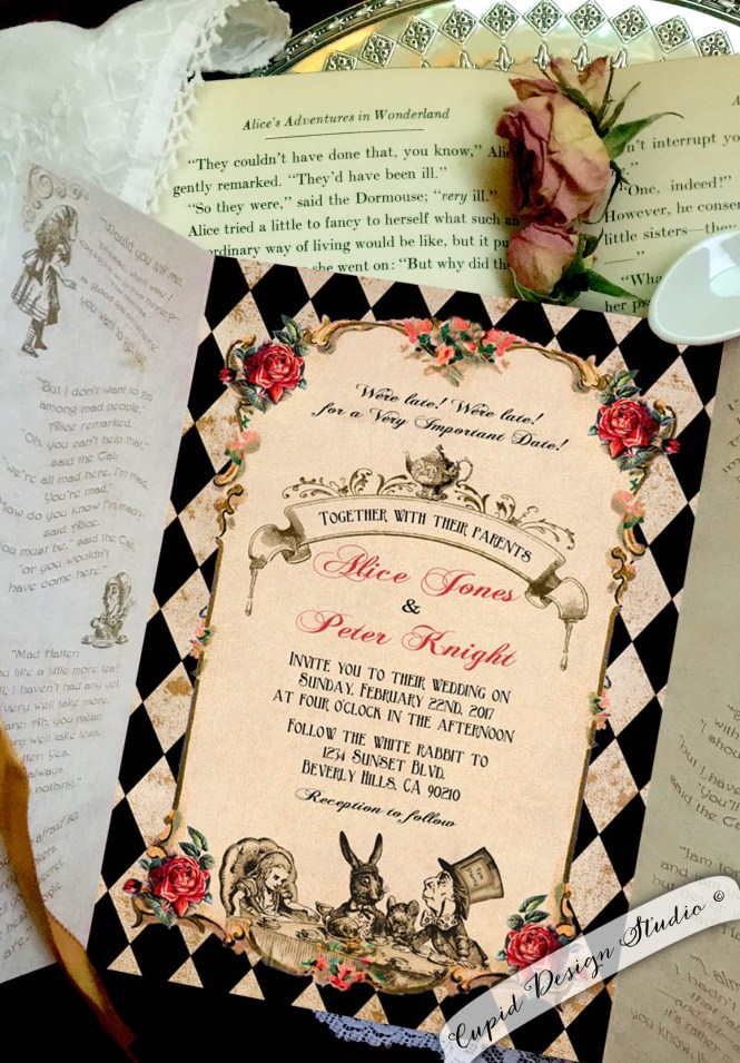 Alice In Wonderland Gatefold Invitations Mad Hatter Tea Party Personalized Invites 5x7