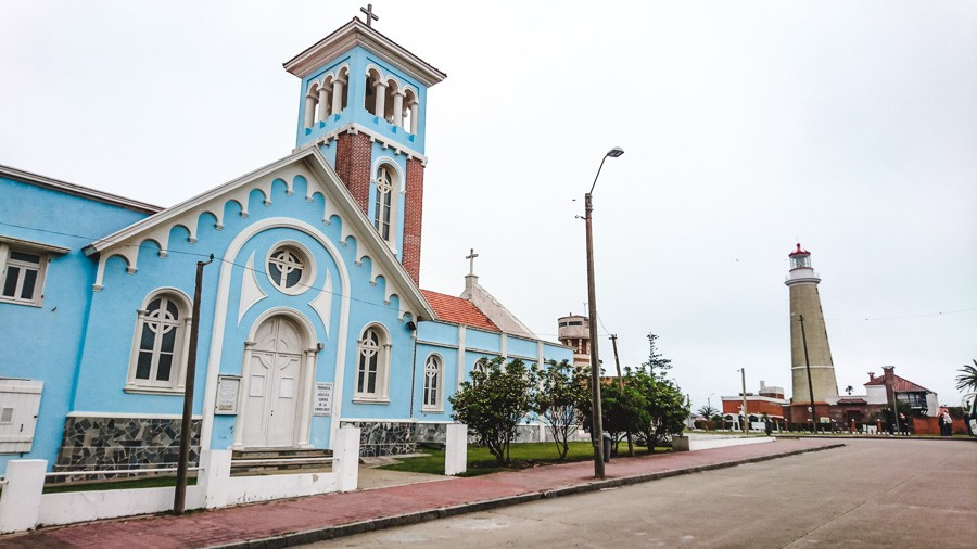 faro de punta del este and blue church, uruguay