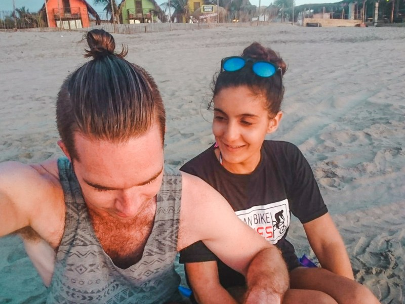couple on beach of mancora peru