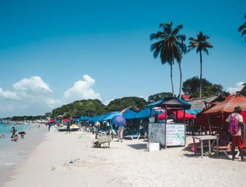 cocktail bar on playa blanca beach, isla baru, cartagena day trip in colombia