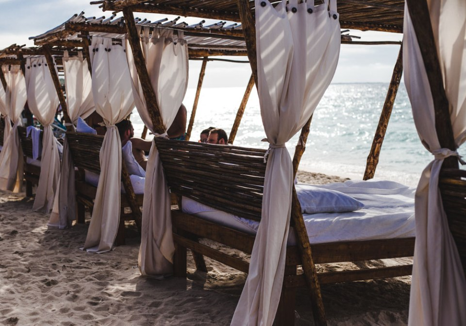 nena beach beds on playa blanca, from cartagena to isla baru, colombia