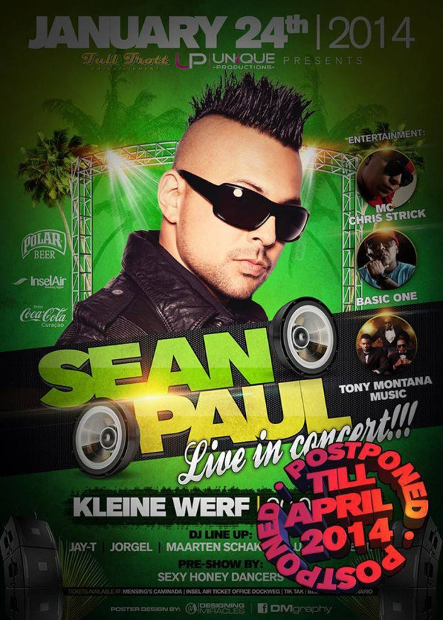 Sean Paul in Curacao and Aruba Postponed