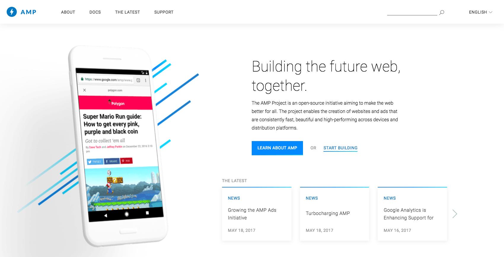 Google AMP homepage
