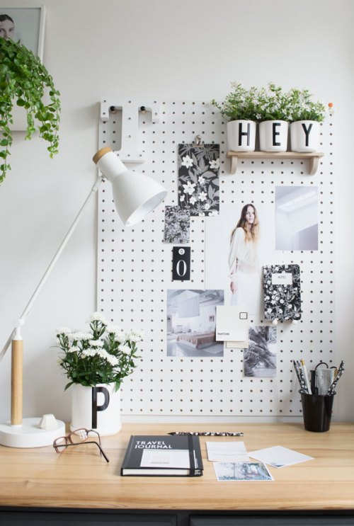 Typography Decor Typographic Type Word Art Pegboard Plants Pots HEY P T Office Desk Organize Graphic