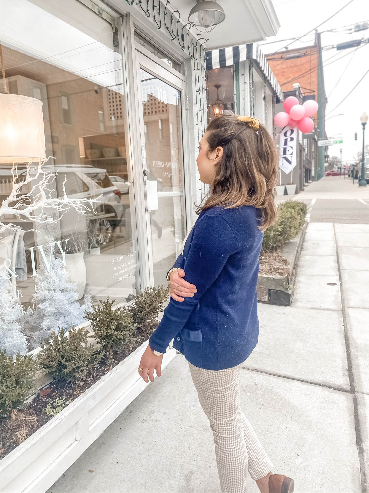 Navy Cardigan and Houndstooth Pants