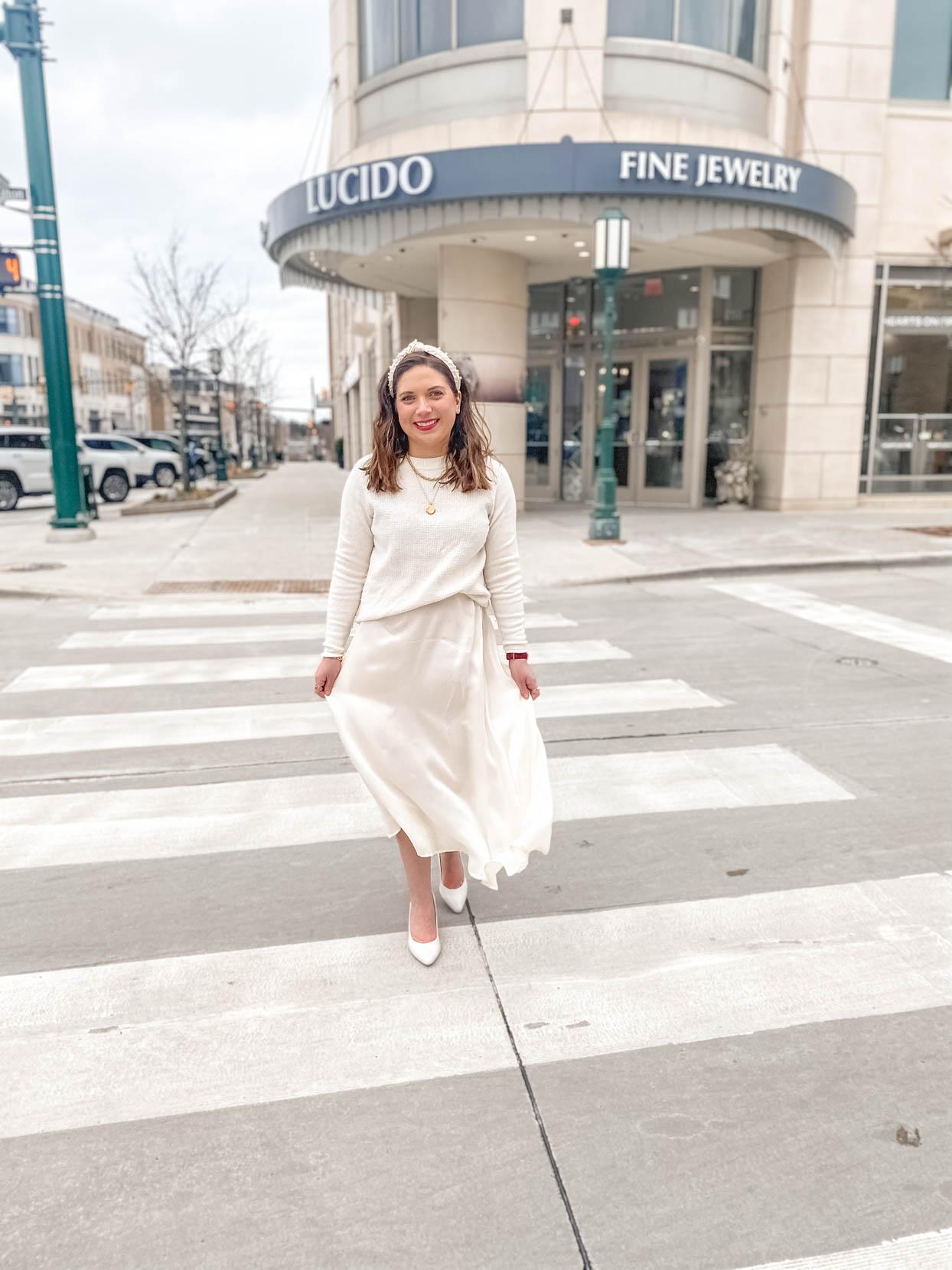 Winter White: Cream Sweater and Silk Skirt