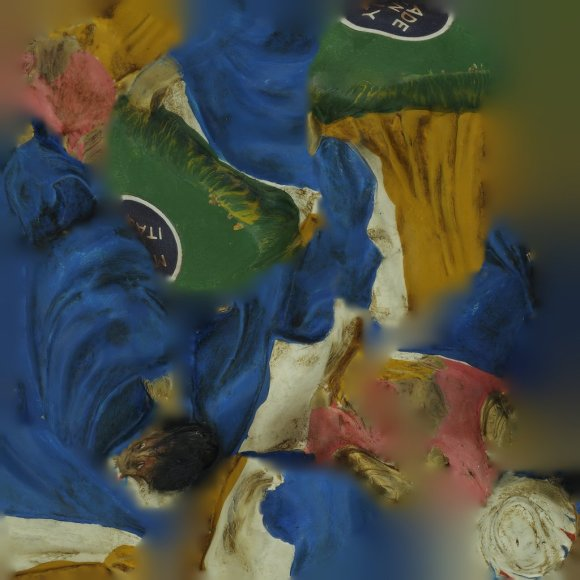 Blues, creams, greens, ochre yellows and pinks, traces of gilding. Abstract image. A high resolution unwrapped texture of a 3D model of one of the biblical Three Kings.