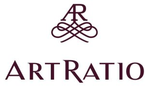 Art Ratio logo with an A R monogram with calligraphy flourishes and the words Art Ratio underneath.