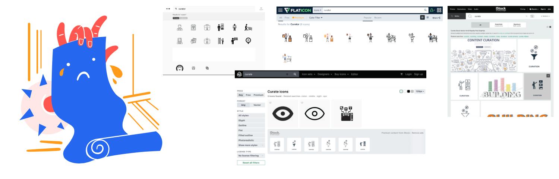 An arrangement of website screenshots