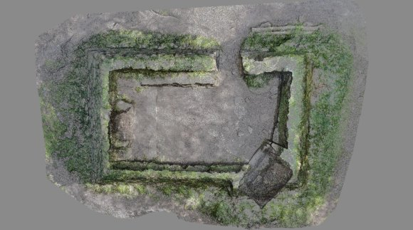 This image of Madron Baptistry is made from 2 million individual points, or dots, and can be seen through, as there is no computer generated surface. The outline of the walls is clear, as well as the position of the altar and font.