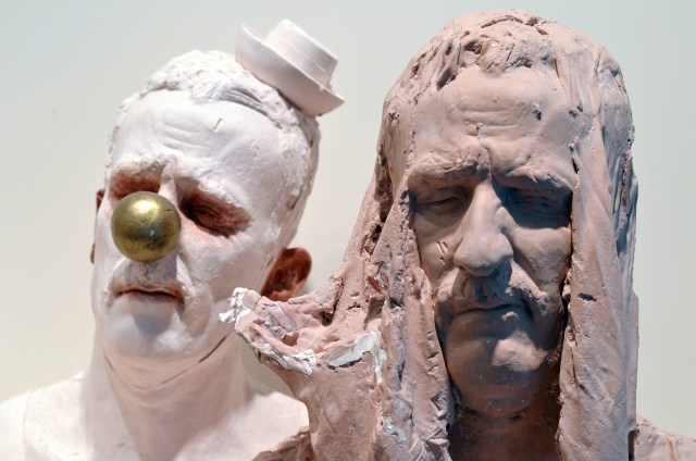 """Head Series"" Polychrome Plaster Life-size busts, size varies Depending on Installation. 2014"